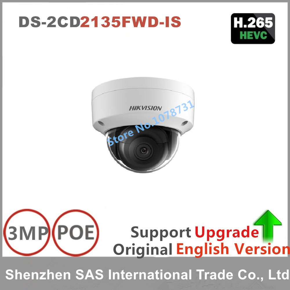 HiKvision New Released H.265 IP Camera DS-2CD2135FWD-IS 3MP WDR Fixed Network Camera Builtin SD Card Slot replace DS-2CD2135F-IS hikvision new released 8mp h 265 network dome camera ds 2cd2185fwd i 3d dnr bullet camera 3840 2160 resolution ik 10 ip 67