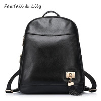 FoxTail & Lily Tassel Design Cow Genuine Leather Women Backpack Famous Brand Female Shoulder Bags High Quality Travel Backpacks
