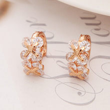 Fshion Flower Design Top Quality Earrings Cubic Zircon Hoop Earring for Women Boucle D'oreille Pendientes Mujer(China)