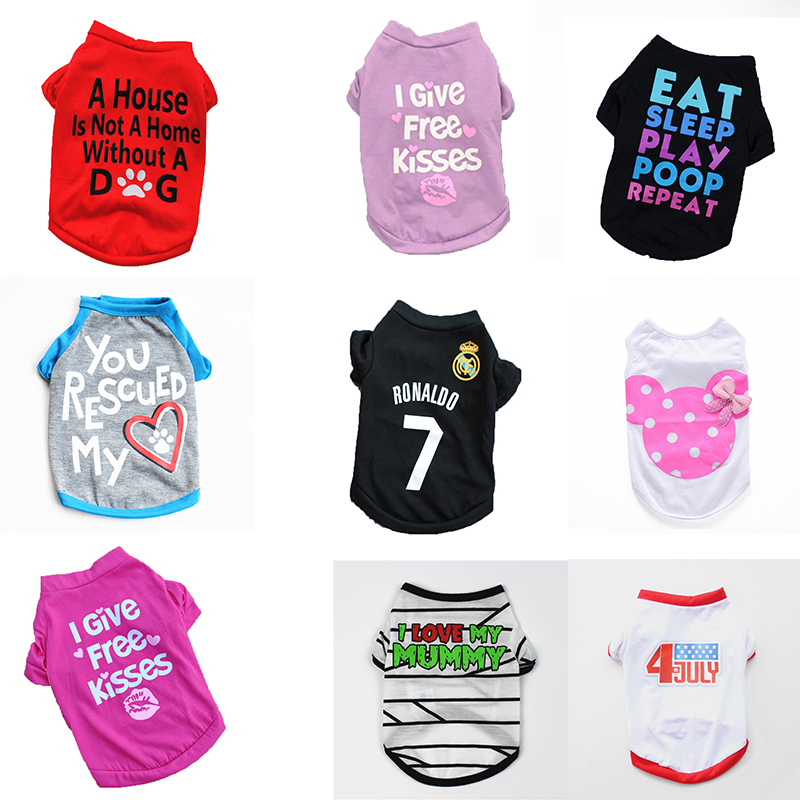 Dog Clothing & Shoes Cute Printed Summer Pets Tshirt Puppy Dog Clothes Pet Cat Vest Cotton Chihuahua T Shirt Apparel Dog Clothes For Small Dogs Harmonious Colors