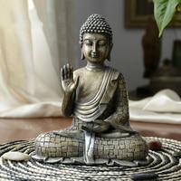 Resin Imitation Bronze Buddhism Bodhisattva Sakyamuni Buddha Statue India Buddha Sculpture Vintage Buddhist Worship Supplies