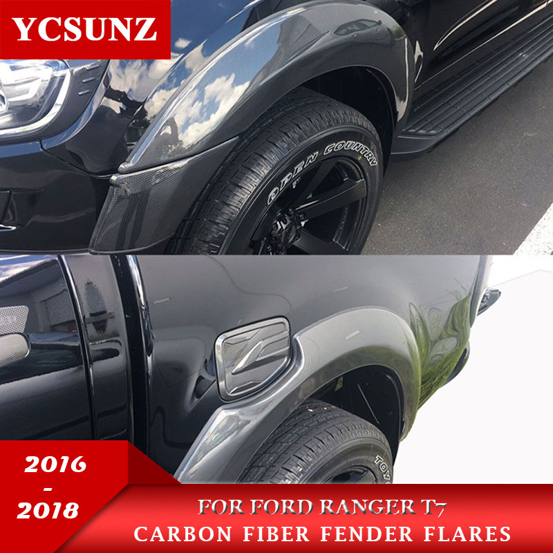 6 Inch Fender Flares With Carbon Fiber Color Mudguards For Ford Ranger Wildtrak T7 2016 2018 2018 Double Cabin