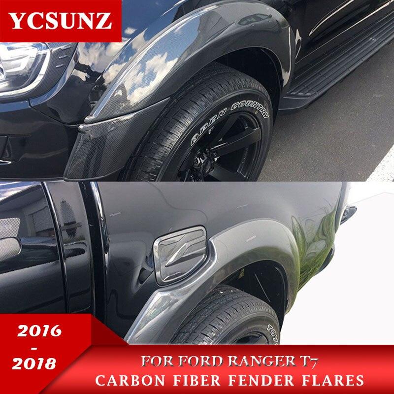 6 pouces élargisseurs d'ailes Avec Carbone fibre Couleur Garde-Boue Pour Ford Ranger Wildtrak T7 2016 2018 2018 Double Cabine