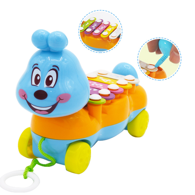 Mini Cartoon Caterpillar Xylophone Toy Hand Knock Kids Piano Toy Musical Instrument Educational Music Toy For Children Gifts