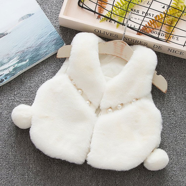 85c222515585 Winter fall girl baby clothes faux fur vest outerwear for newborns ...