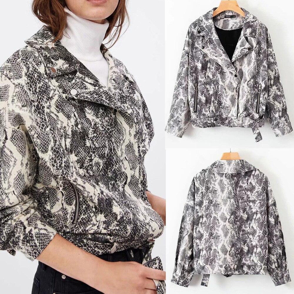 Herbst Winter Mode Frauen Mantel Lässig Vintage Mode Lose Zip Snake Print Langarm Jacke Tasche Mantel Weibliche Elegante Mantel