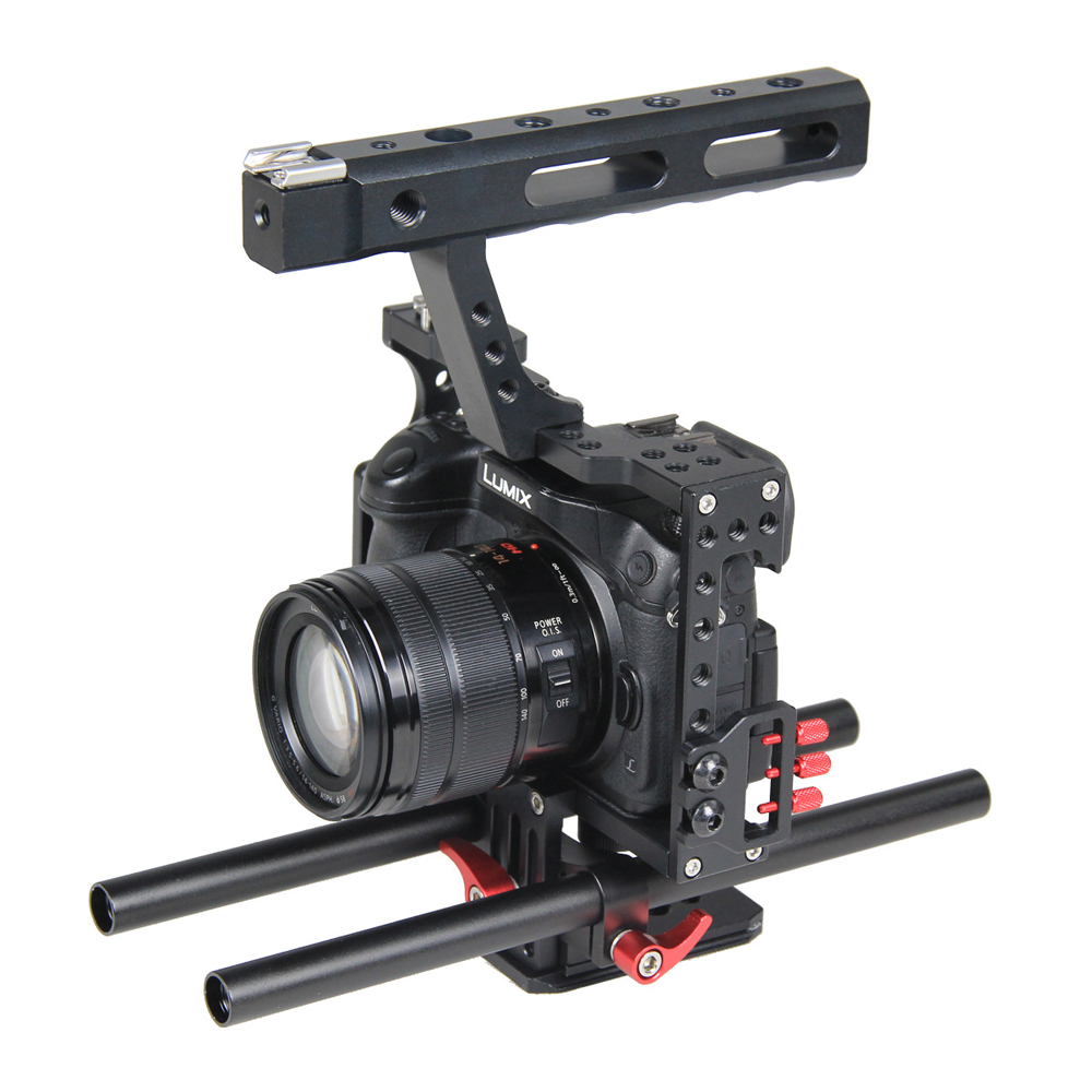 15mm Rod Rig DSLR Camera Video Stabilizer Cage Kit w/ Top Handle Grip for Sony A7 A7S A7RII A6300 A6000 /GH4 GH3 /EOS M5 M3 yelangu aluminum alloy camera video cage kit film system with video cage top handle grip matte box follow focus for dslr