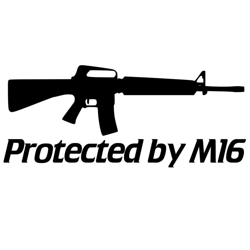 17.8CM*7.7CM Protected by M16 Reflective Car Styling Car Stickers Motorcycle Decorating Stickers Black/Sliver C8-1374