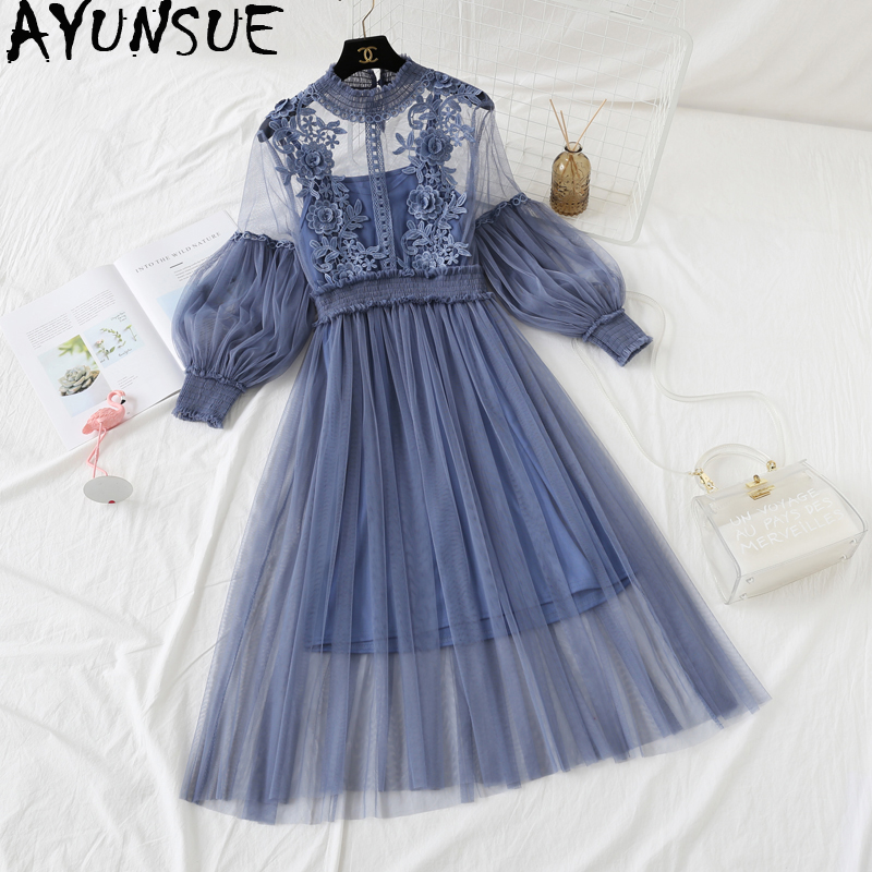 AYUNSUE Two Piece Set Women Summer Lace Dress Set Boho Korean Long Dresses Mesh Beach Sweet Sets Vestidos De Verano KJ1737