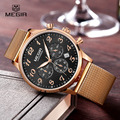 Megir Fashion Mens Chronograph Luminous Stainless Steel Mesh Band Quartz Watches Formal Analogue Dress Wristwatch for Man 2022G