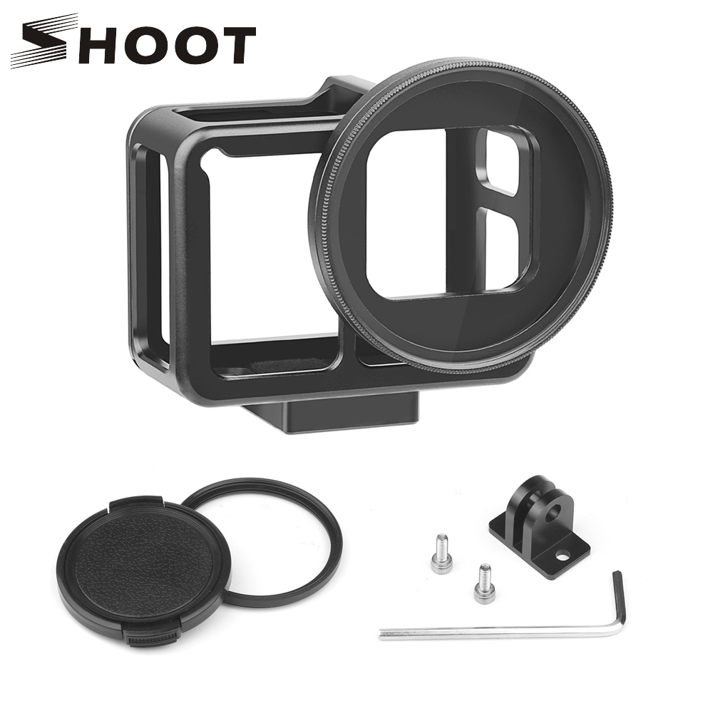 SHOOT CNC Aluminum Alloy Protective Case Mount for GoPro Hero 7 6 5 Black with 52mm UV Lens Backdoor for Go Pro Hero 7 Accessory fat cat high precision cnc alluminum alloy lens strap ring for gopro hero 3