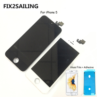 FIX2SAILING 100% Grade AAA LCD Display Touch Screen Digitizer Assembly Replacement For Apple iPhone 5 +Glass Film +Adhesive