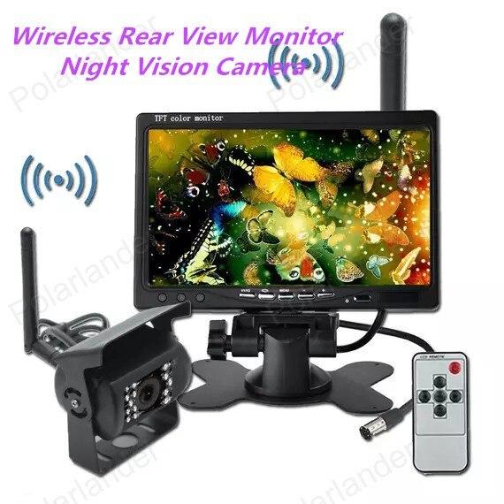 7 inch TFT LCD Wireless Rear View Monitor CMOS IR Night Vision Backup Camera Kit
