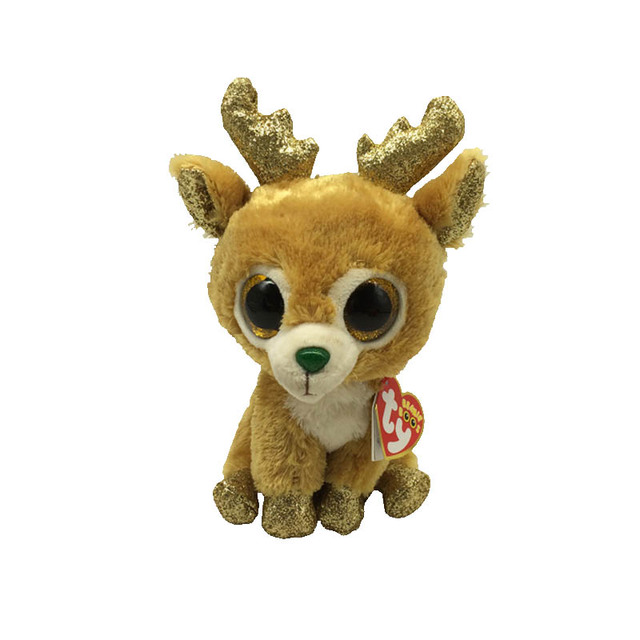 85368660424 Ty Beanie Boos 6 15cm Glitzy the Reindeer Plush Regular Big-eyed Stuffed  Animal Collection Deer Doll Toy with Heart Tag