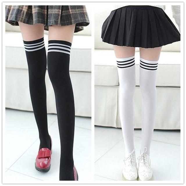 9870e6e08 Sexy Medias Fashion Striped Knee Socks Women Cotton Thigh High Over The Knee  Stockings for Ladies Girls 2019 Warm Long Stocking