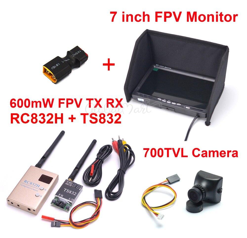 """FPV 5.8 グラム 600 5mw 48CH ワイヤレス TS832 トランスミッタ RC832H RC832 受信機 7 インチ 7 """"液晶 tft 1024 × 600 監視していない 700TVL カメラ  グループ上の おもちゃ & ホビー からの パーツ & アクセサリー の中 1"""