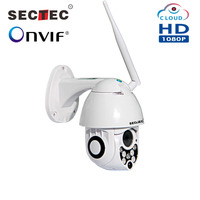 SECTEC 1080P Mini Speed dome PTZ Outdoor Cloud Wifi IP Camera Onvif SD Card Two way audio Wireless CCTV Camera