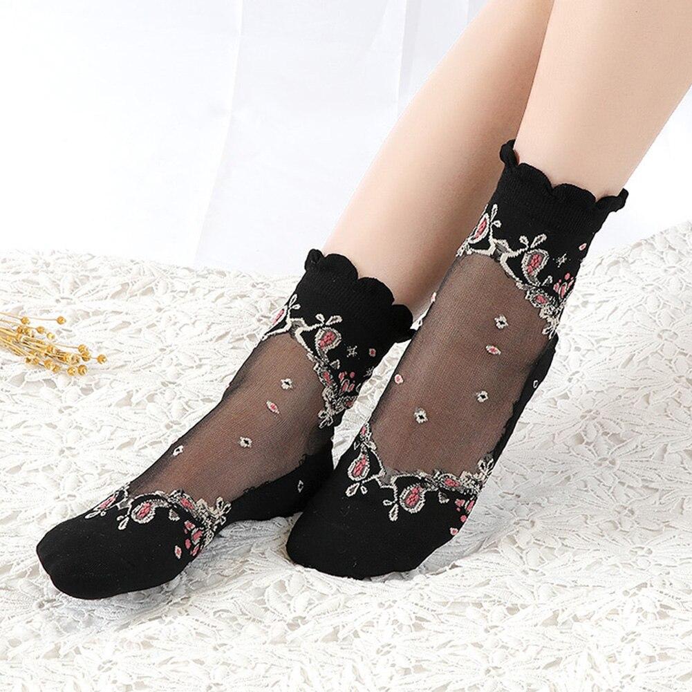 HTB175ScN9zqK1RjSZFjq6zlCFXae - Mesh Flowers Summer Super Thin Retro Comfortable Women Socks