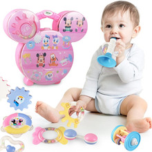 Disney Mickey Minnie Box Cute Cartoon Hand Bell Rattles Baby Toys Gifts for Newborn Boy Girl Over 3 Month Eco-friendly Licensed