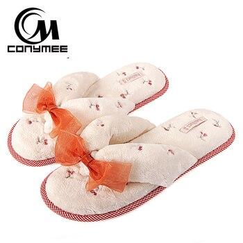 ae119290 Zapatillas de piel de CONYMEE zapatos para el hogar mujer Primavera/otoño  suaves zapatillas de felpa lindo arco zapatos de piso de interior zapatillas  de ...