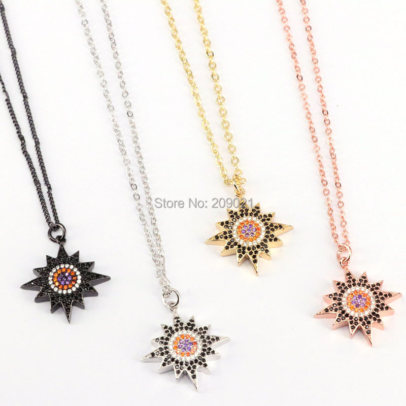 New Fashion 10Pcs high quality micro pave cz star Pendant Necklaces Charms for Women Jewelry