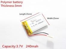 Bateria de Iões Polímero para Mp3 3.7 V 240 Mah 302535 Células Li-po de Lítio Recarregável Mp4 Mp5 Gps Psp Móvel Bluetooth