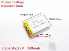 3.7V 240mAh 302535 Lithium Polymer Li-Po li ion Rechargeable Battery cells For Mp3 MP4 MP5 GPS  mobile bluetooth