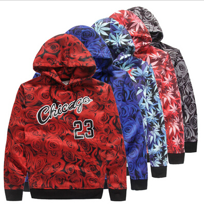 newest f94fd 2f511 New men sportswear JORDAN 23 sweatshirt red rose weed hemp print hoodies  man trousers jacket coat clothing Free shipping