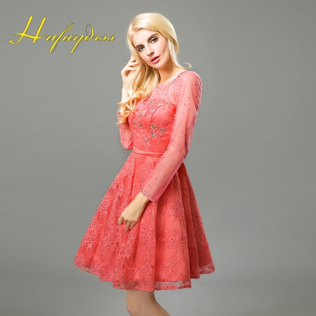 Coral Bridesmaid Dresses 2017 Vestido Madrinha Lace Long Sleeves
