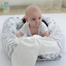 Newborn Baby Nest Bed Crib 100% Cotton Portable Removable Washable baby Bionic Bed Cartoon Travel Bed with Bumper for Newborn все цены