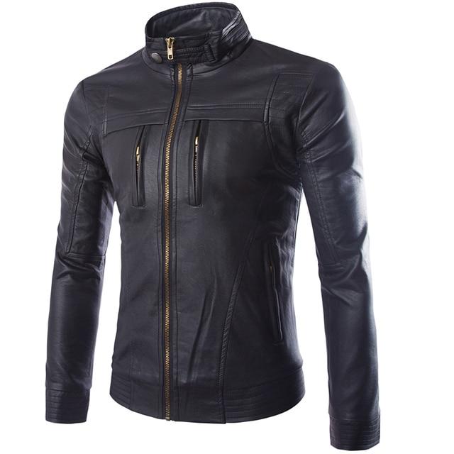 2016 Winter New Hot Sale PU Leather Jacket Men Zippers Multi-pocket Jacket High Quality Slim Cut Jaqueta Masculina