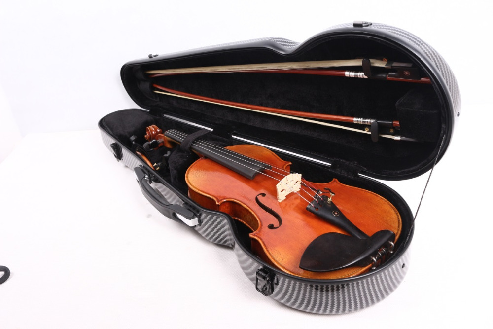 SJH -02  4/4 violin case  glass carbon fiber durable strong  case  black white red  color white blue stitching color 4 4 glass fiber violin case