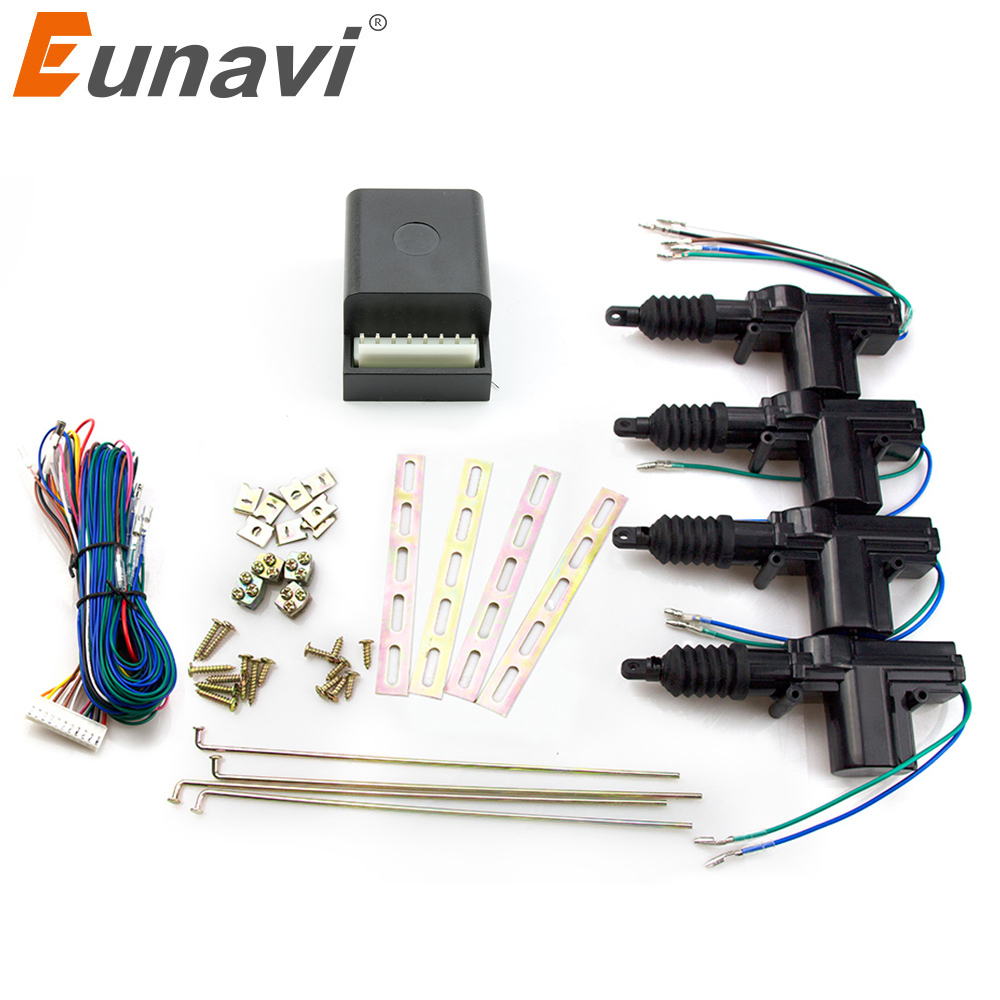 Eunavi Universal Car Power Door Lock Actuator 12-Volt Motor (4 Pack) Car Central Locking Keyless Entry System door lock motor general purpose actuator kit door lock motor keyless entry concentrated for universal car 12 v power door lock