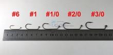 [100PCS/lot] Carbon steel 60 degree jig hook Fishing Hooks 6 1 1/0 2/0 3/0 4/0 5/0 6/0 7/0 8/0 [YG32786]