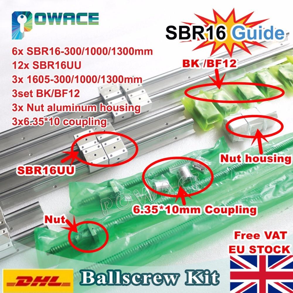 EU Free VAT 6PCS Linear Rail SBR16 L 300 1000 1300mm 3set Ballscrew SFU1605 300