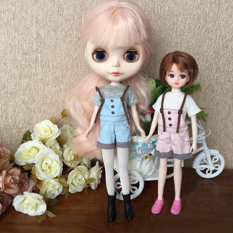 Doll Accessory White Cotton Short Sleeve T-shirt For 1//6 Blythe Dolls