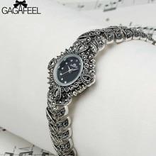 100% 925 Серебряные Часы Леди Женщин Thail Серебро Наручные Часы Кварц Браслет Часы Серебряные Часы Женщина