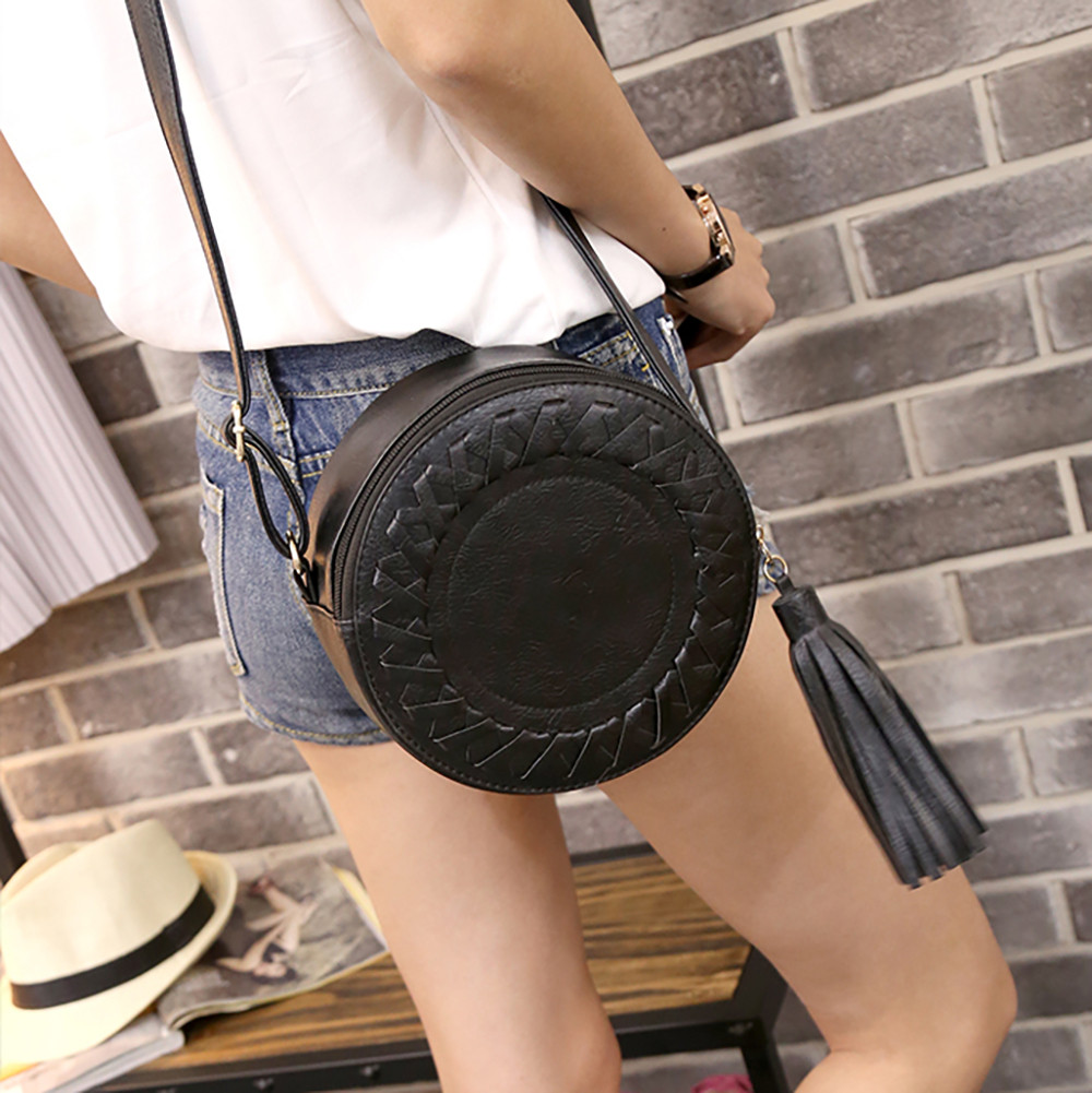 Women Bags Luxury Handbags Designer Crossbody Bags Women Round Casual One-shoulder Adjustable Braided Tassel Small Round Bag#L5%