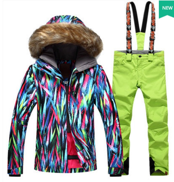a few days away buy cheap run shoes € 94.28 |Combinaison de ski verte femme lampe néon colorée veste de ski  équitation et pantalon de ski vert costume de sports de plein air d'hiver  ...