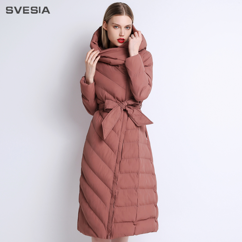 SVESIA 2018 Cotton Padded Jacket   Parkas   Women Standard Collar Warm Coats Female Office Lady Knee Length Winter Fashion New Park