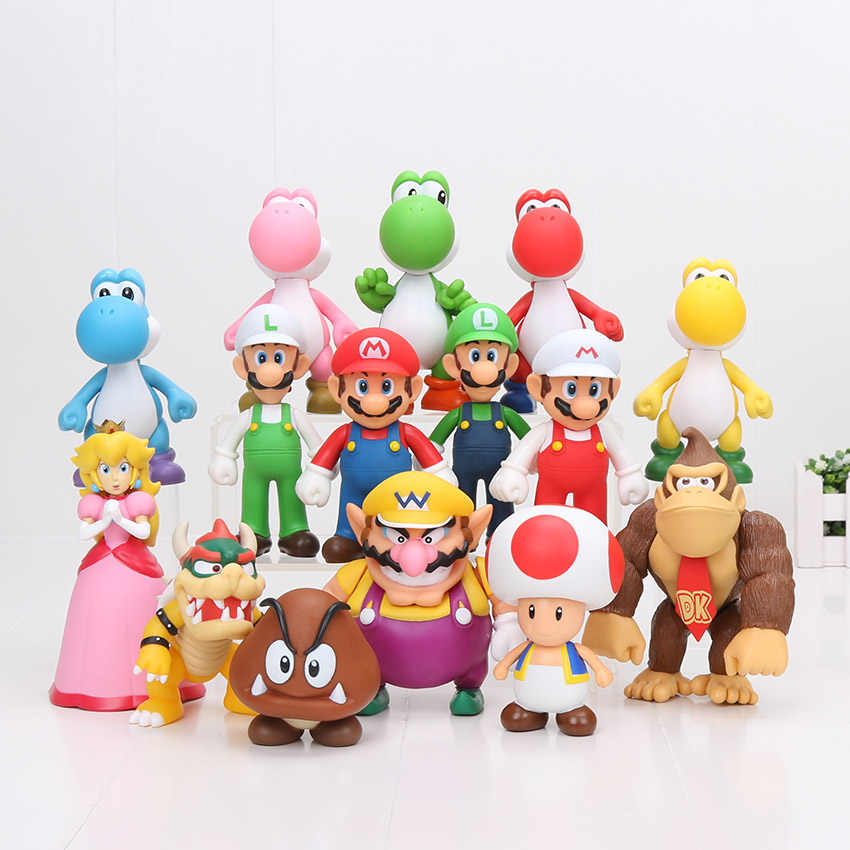 Super Mario Bros Figure Bowser Koopa Yoshi Luigi Wario Donkey Kong Peach Mushroom Mario Action Figure Toys Model Dolls