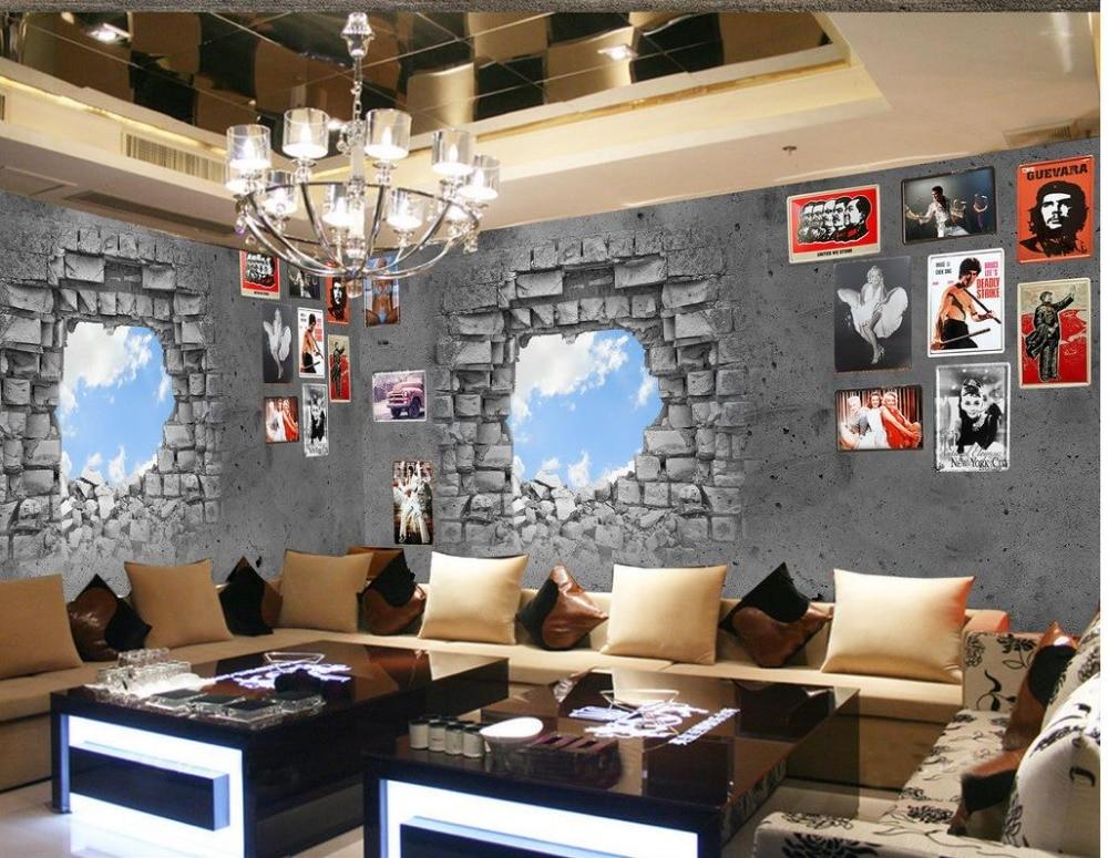 Decorative brick wall mural 3d paintings 3d stereoscopic for Broken wall mural