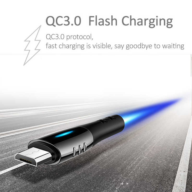 USAMS Micro USB Auto Disconnect Cable QC3.0 USB Fast Charging Protection Smart Power Off Cable Data Wire Android Mobile Microusb