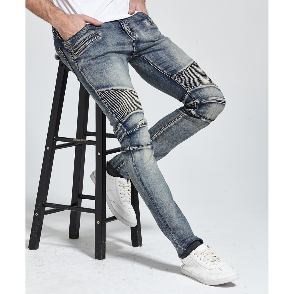 2017 uomini dei jeans design biker jeans skinny strech casual jeans per gli uomini di buona qualità h1703