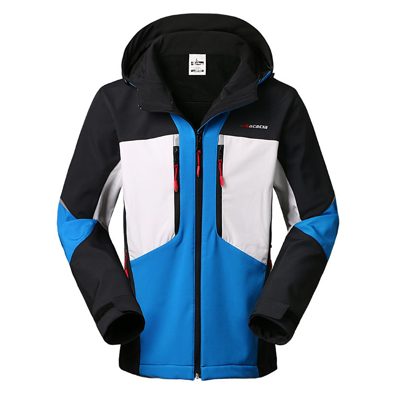 Winter Sports Outdoor Soft shell Jacket Men Riding Fishing Hooded Ski Windproof Waterproof Warm Mountaineering Cycling Clothes