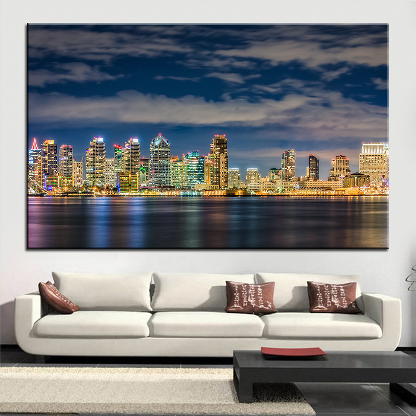 Home Decor San Diego: Large Size Printing Oil Painting San Diego Beautiful Wall