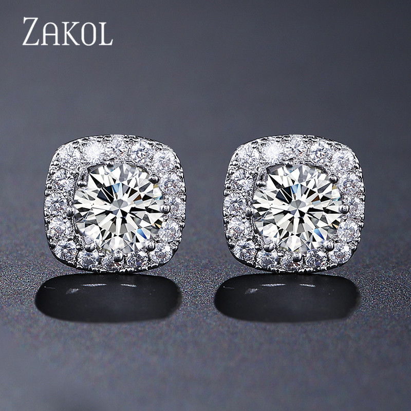 ZAKOL Hot Sale Clear Round AAA+ Cubic Zirconia Stud Earrings Fashion Square Crystal Earrings For Women Girl Gift Jewelry FSEP102