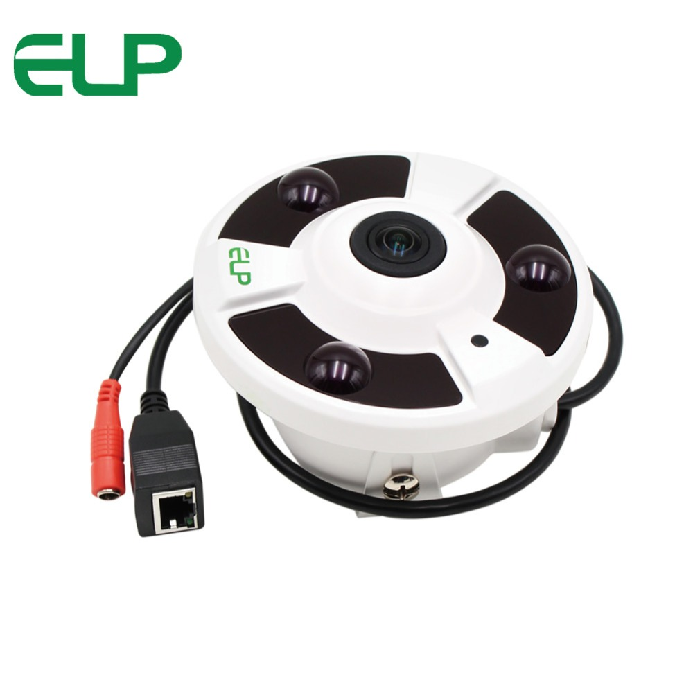 ELP FishEye Lens 1080P 2.0Megapixel Panorama View 180 / 360 Degree Panoramic Mini IP Camera 2MP With POE IR Night Vision Onvif цена