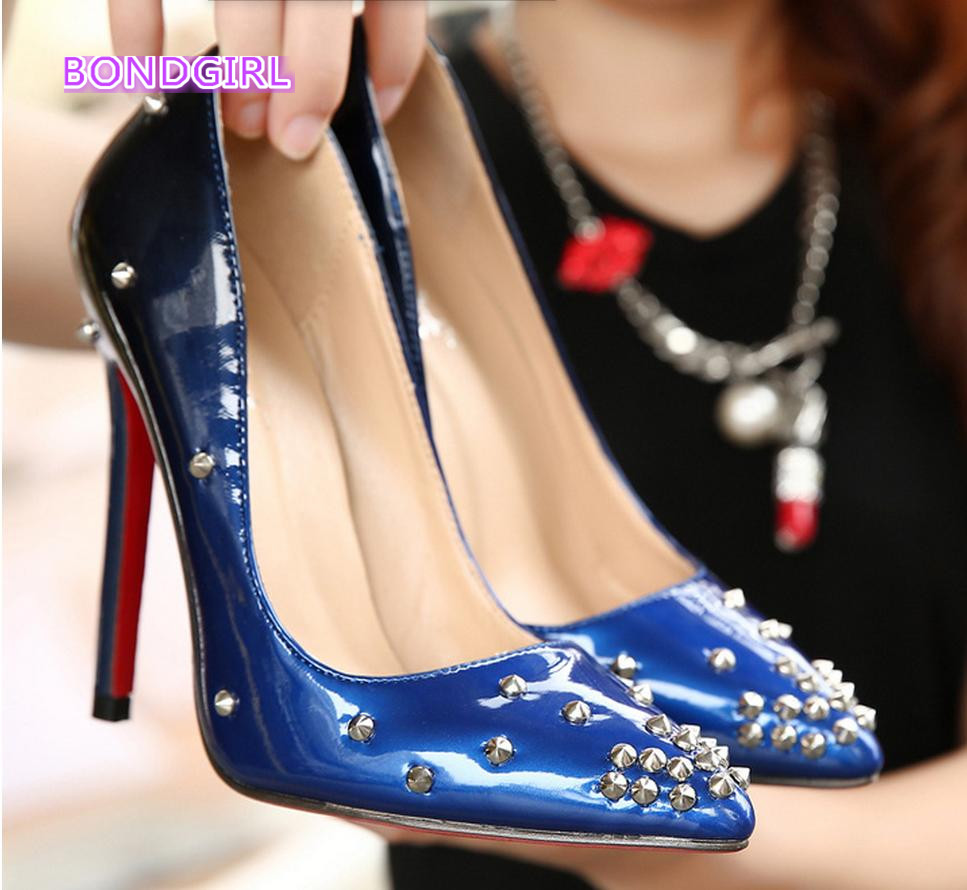 c65626e7f84b Gradient color pointed toe rivets shoes red bottom high heels designer shoes  wine red blue size 35 to 40-in Women s Pumps from Shoes on Aliexpress.com  ...