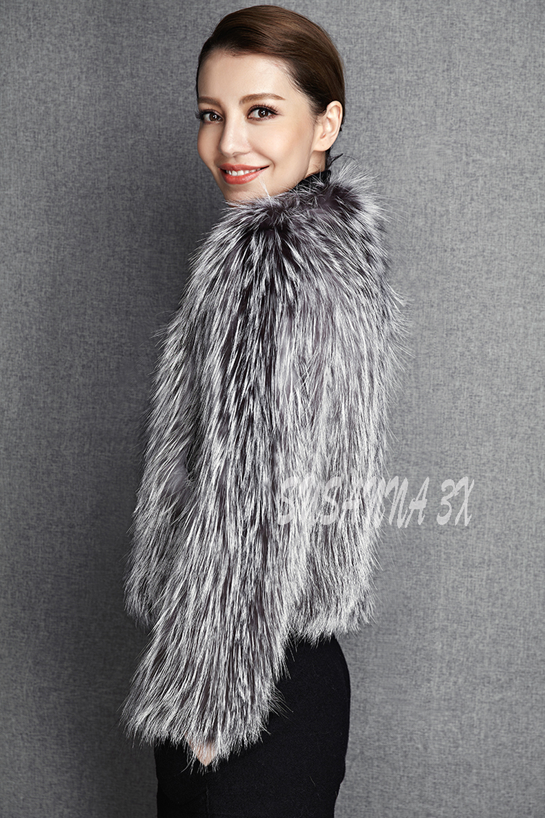2015 New Arrival 100% Natural Silver Fox Fur Knitted Coat, Women's Real Fox Fur Outerwear SU-1521 EMS Free Shipping 10